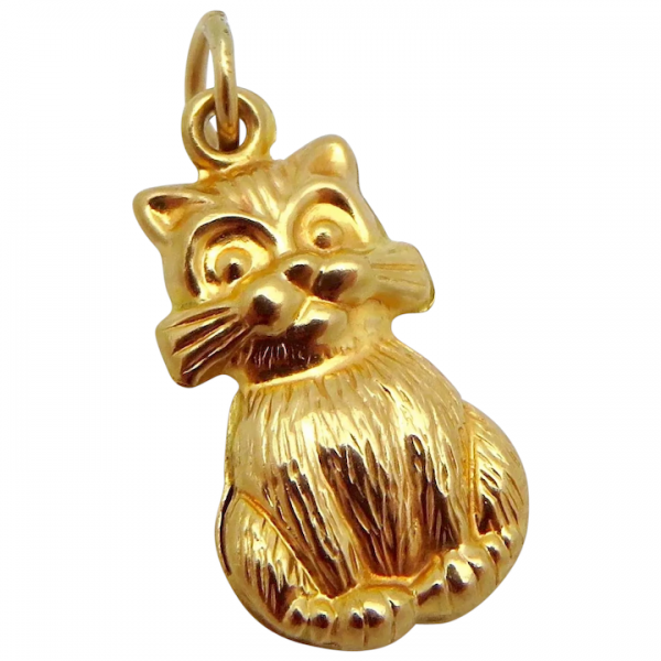Vintage 10K Yellow Gold 3D Sitting Kitty Cat Charm