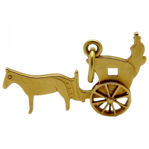 Vintage 14K Gold Movable Horse & Carriage Charm Krementz 1930s