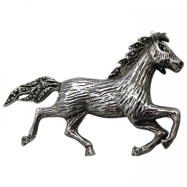 Vintage Sterling Silver Equestrian Horse Pin Brooch with Marcasite