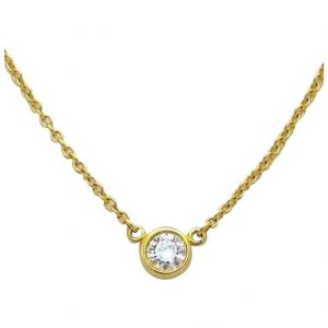 Tiffany & Co. 18K Yellow Gold Elsa Peretti Diamond by the Yard Necklace .12ct.