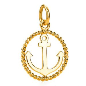 Tiffany & Co. 18K Yellow Gold Ships Anchor Twist Charm Pendant
