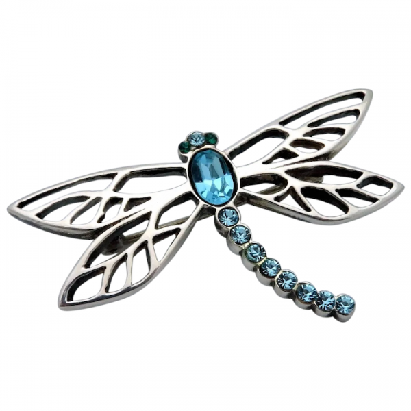 Lenox Sterling Silver Jeweled Dragonfly Pendant Pin