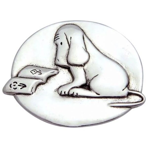 James Thurber Sterling Silver Reading Dog Pin Pendant DVB Laurel Elliott