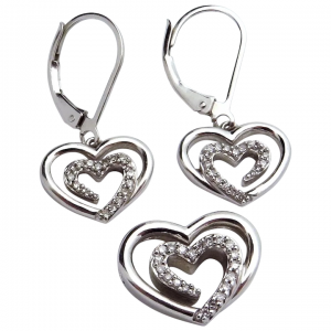Sterling Silver SLV Open Heart Pendant & Earrings Set with Diamonds
